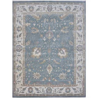 Herat Oriental Indo Hand-knotted Tribal Oushak Wool Rug (12'4 x 14'10)