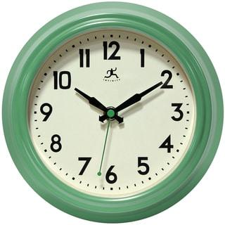 Infinity Instruments Retro Diner Black 8.5-inch Round Indoor Wall Clock