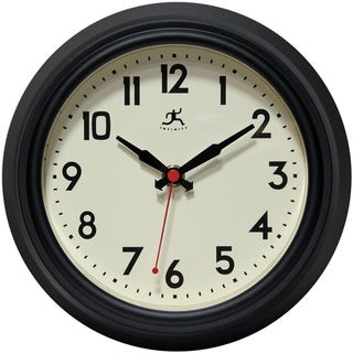Infinity Instruments Retro Diner Black 8.5-inch Round Indoor Wall Clock