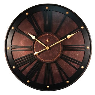 Infinity Instruments The Arcadian Gold/Espresso Aluminum 31-inch Round Indoor Wall Clock