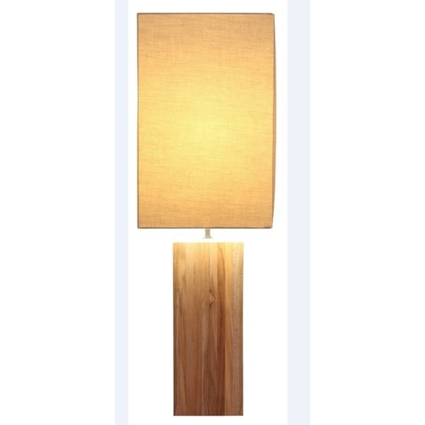 Natural-finish Teak Wood Tall Table Lamp
