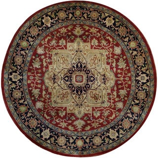 Herat Oriental Indo Hand-knotted Tribal Serapi Wool Round Rug (7'7 x 7'10)
