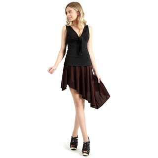Evanese Women's Casual Asymmetrical Hi Low Contemporary Cocktail Turn Skirt (Option: Brown)