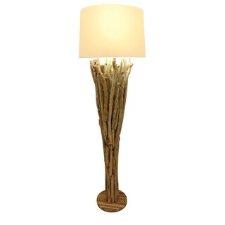 Skove Beige/Brown Wood Uplight Floor Lamp