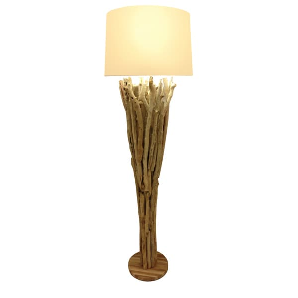 Skove Beige/Brown Wood Uplight Floor Lamp