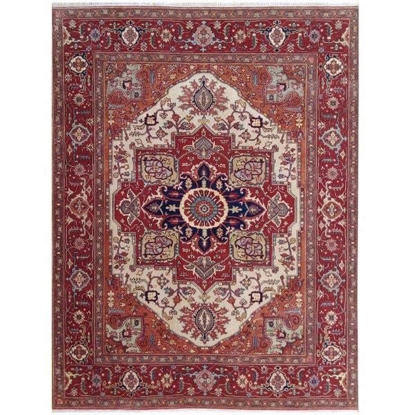 Handmade Herat Oriental Indo Tribal Serapi Wool Rug - 8' x 10'2 (India)