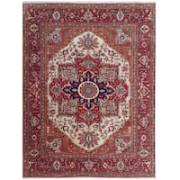 Herat Oriental Indo Hand-knotted Tribal Serapi Wool Rug (8' x 10'2)