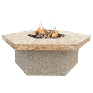 Stucco and Tile Hexagon Propane Gas Fire Pit