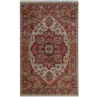 Herat Oriental Indo Hand-knotted Tribal Serapi Wool Rug (5'11 x 9'3)