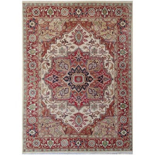 Herat Oriental Indo Hand-knotted Tribal Serapi Wool Rug (8'10 x 11'11)