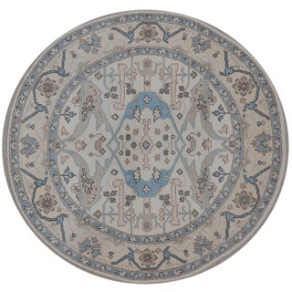 Herat Oriental Indo Hand-knotted Tribal Oushak Wool Round Rug (5'10 x 5'10)
