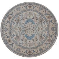 Handmade Herat Oriental Indo Tribal Oushak Wool Round Rug (India) - 5'10 x 5'10