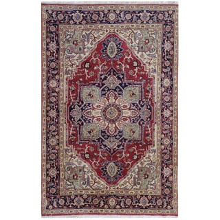Herat Oriental Indo Hand-knotted Tribal Serapi Wool Rug (5'10 x 8'9)