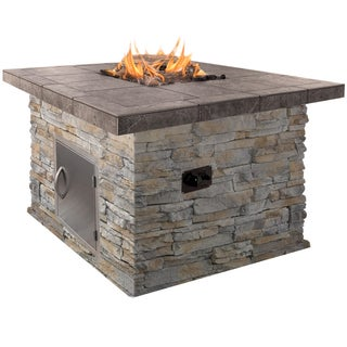 48-inch Natural Stone Propane Gas Fire Pit in Gray with Log Set and Lava Rocks