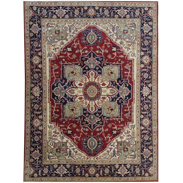 Handmade Herat Oriental Indo Tribal Serapi Wool Rug - 8'11 x 11'11 (India)