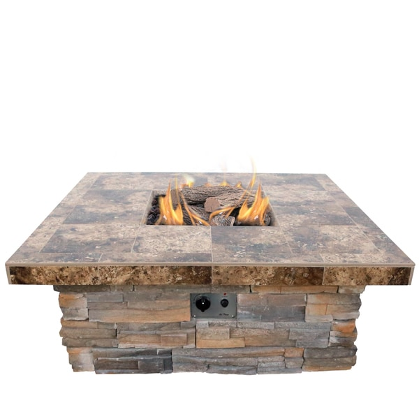 48 Inch Natural Stone Propane Gas Fire Pit In Gray With