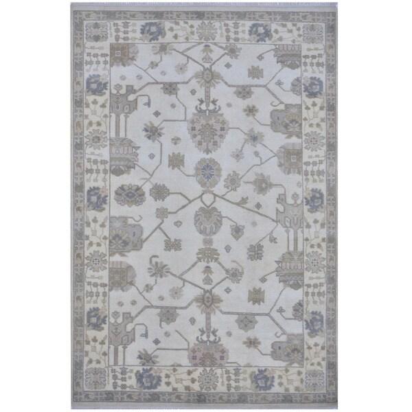 Handmade One-of-a-Kind Oushak Wool Rug (India) - 6'1 x 9'