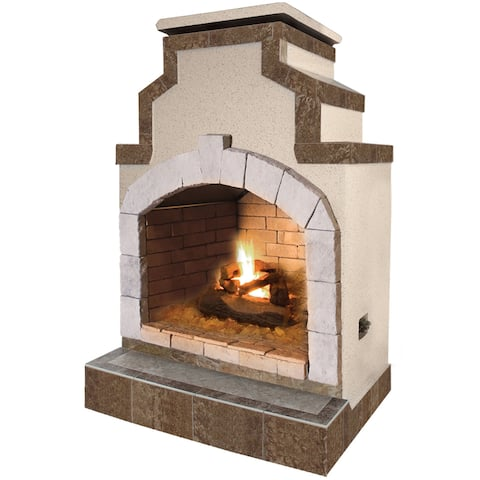 48-inch Propane Gas Outdoor Fireplace in Porcelain Tile
