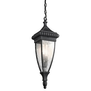 Kichler Lighting Venetian Rain Collection 2-light Black w/Gold Accents Outdoor Pendant