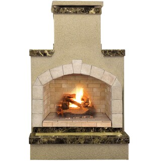 48-inch Propane Gas Outdoor Fireplace with Brown Porcelain Tile