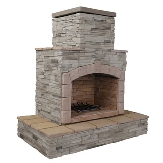 78-inch Grey Natural Stone Propane Gas Outdoor Fireplace