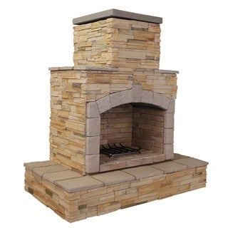 78-inch Brown Natural Stone Propane Gas Outdoor Fireplace