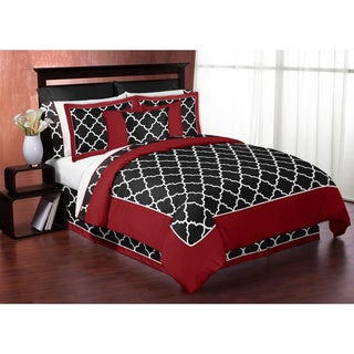 Sweet Jojo Red/Black/White Trellis Full/Queen 3-Piece Comforter Set