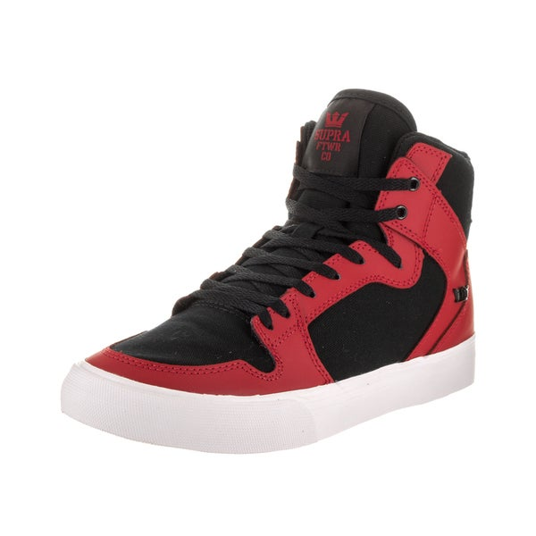 6a7e30cb88cf Shop Supra Kids Vaider Red Black Leather Skate Shoe - Free Shipping ...