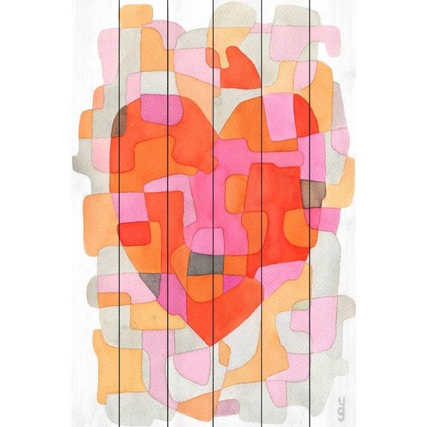 Marmont Hill - Handmade Splash of Heart Painting Print on White Wood