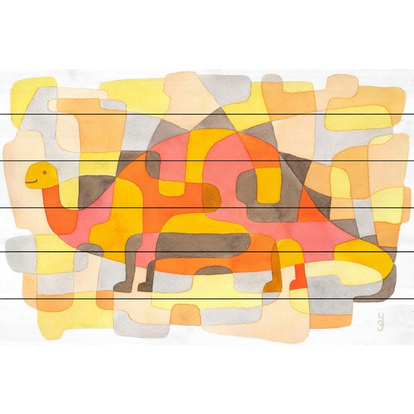 Marmont Hill - 'Dinosaur 2' by Yolanta Gawlik Painting Print on White Wood