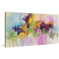 Marmont Hill - 'Flower Passion' by Julie Joy Painting Print on Wrapped Canvas - Purple