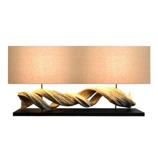 Natural-finish Wood Rectangular Table Lamp