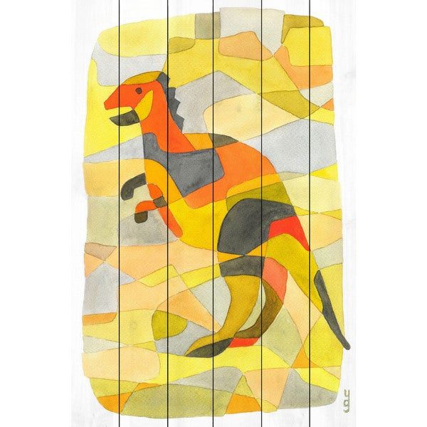 Marmont Hill - Handmade Dinosaur 1 Painting Print on White Wood