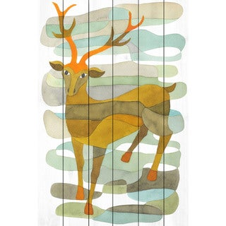 Marmont Hill - Handmade Stag Painting Print on White Wood