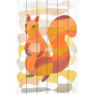 Marmont Hill - 'Squirrel' by Yolanta Gawlik Painting Print on White Wood