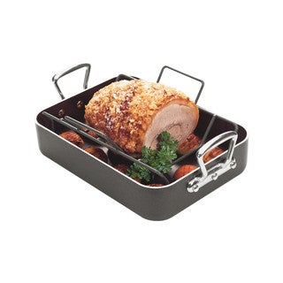 Roasting & Baking Pan V Shape Non Stick Rack, Heavy Duty Hard Anodized Aluminum Body