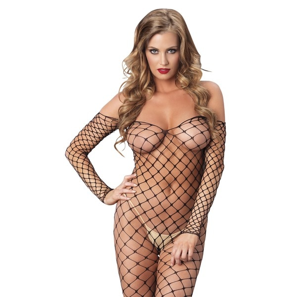 Leg Avenue Fence Net Black Nylon Off The Shoulder
