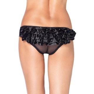 Leg Avenue Women's Sheer Black Panty With Satin Rhumba Ruffle Back