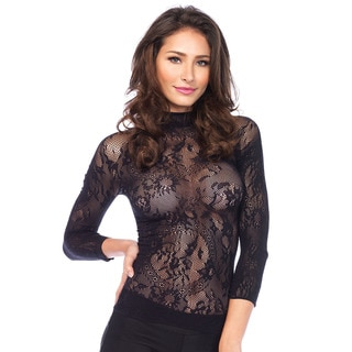Leg Avenue Women's Black Sexy Floral Lace Top with 3/4 Length Sleeve