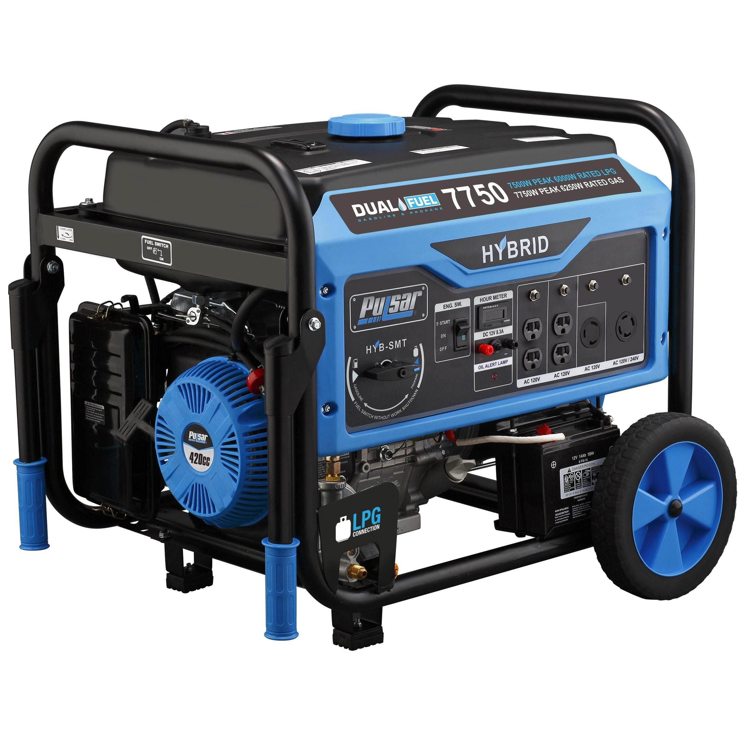 PULSAR 7750 Watt Dual Fuel Portable Generator (PG7750B), ...