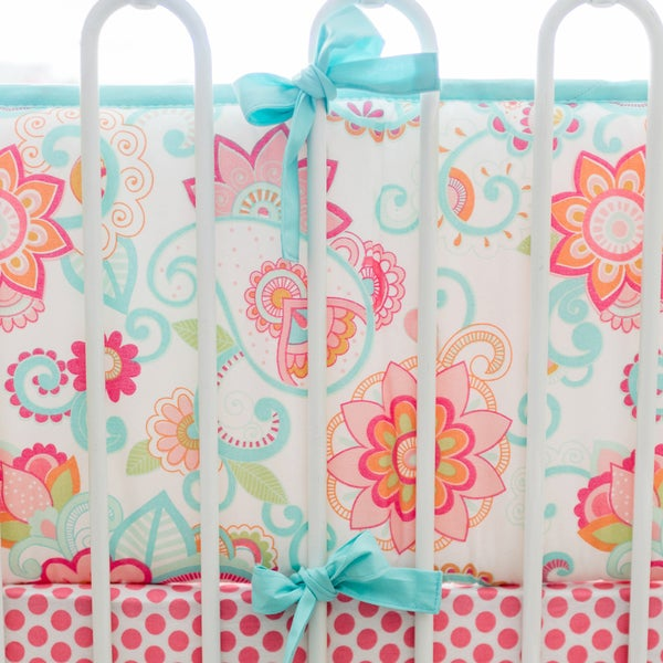 My Baby Sam Girls Gypsy Pink Cotton Baby Crib Bumper