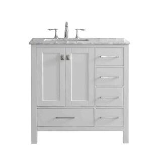 Eviva Aberdeen White 36-inch Bathroom Vanity with White Carrera Top