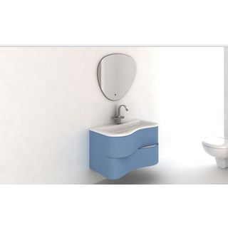 Eviva Touch 36-inch Blue Wall Mount Modern Bathroom Vanity with White Integrated Acrylic Sink
