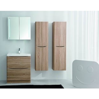 Eviva Smile 30-inch White Oak Modern Bathroom Vanity Set with Integrated White Acrylic Sink Free Standing