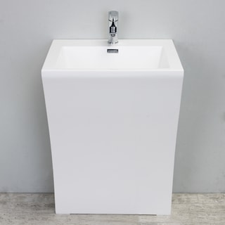 "Eviva Seven 24"" White One Piece High Quality Acrylic Consule/Pedestal Bathroom Vanity"