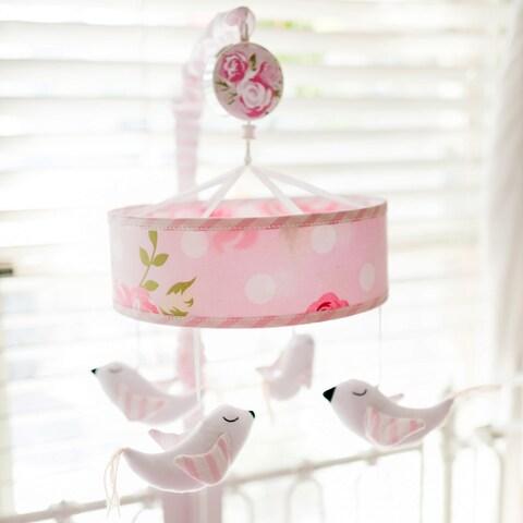 My Baby Sam White/Pink Fabric Rosebud Musical Mobile
