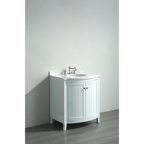 eviva odessa zinx white 30inch bathroom vanity with white carrera marble top