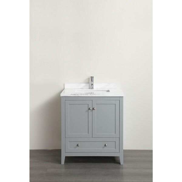 Eviva Lime White Marble Carrera Grey 30-inch Single Bathroom Vanity