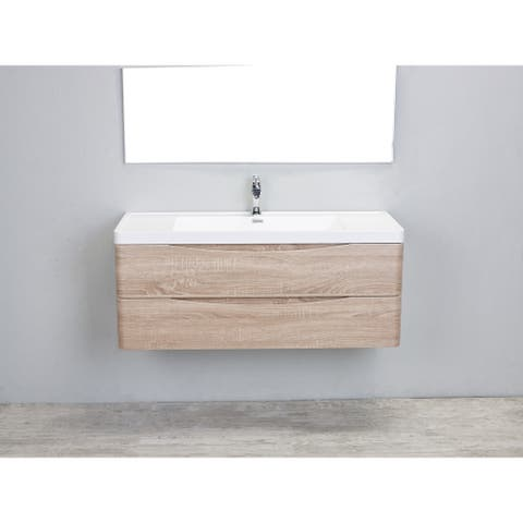 Eviva Smile 48 inch White Oak Wall Mount Modern Bathroom Vanity with White Integrated Acrylic Top