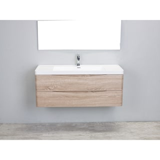 Eviva Smile White Oak 48-inch Wall Mount Bathroom Vanity with White Acrylic Sink
